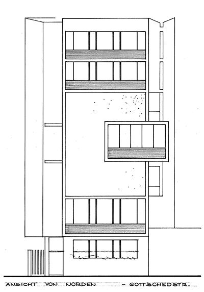 ExRotaprint Eckturm, Originalplanung von Klaus Kirsten, 1958