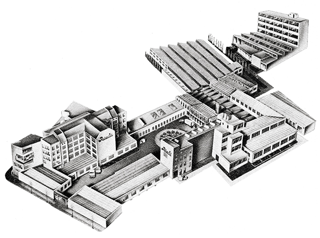 Rotaprint Gesamtgelände um 1960, heute ExRotaprint, Illustration von Rotaprint